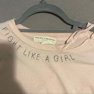 Urban Outfitters Pink Distressed Collar Shirt